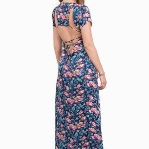 Tobi Navy Floral Print Maxi Dress • Size Small